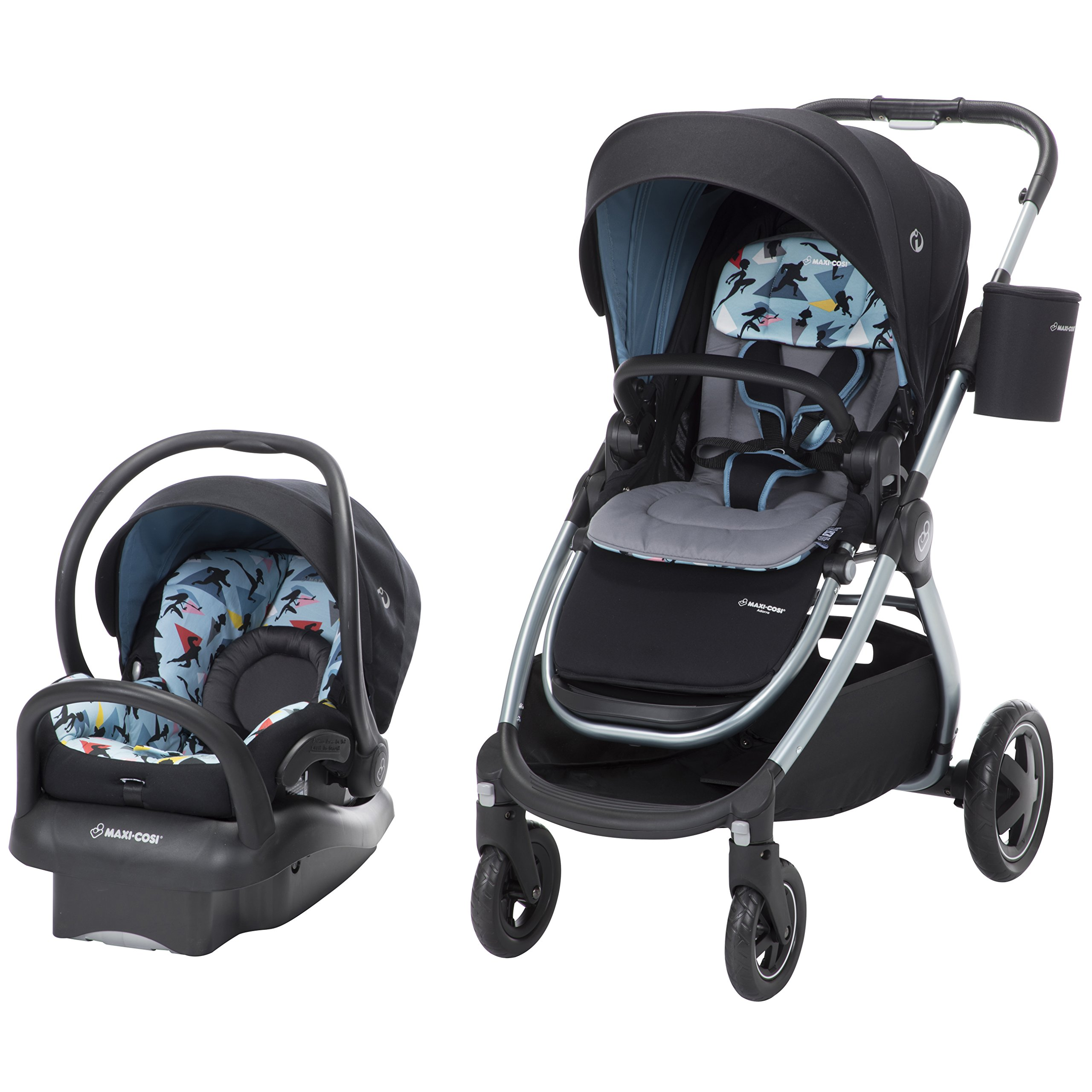 Disney Baby Adorra 5-in-1 Modular Travel System with Mico Max 30 Infant Car Seat, Disney-Pixar Incredibles 2, Blue/Black/Grey from Maxi-COSI by Disney