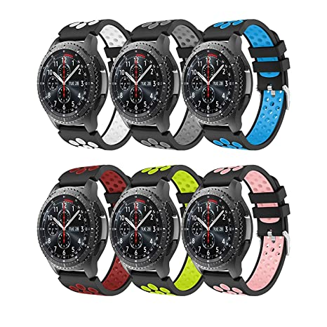 YSSNH Gear S3 Frontier/Classic Watch Band, Soft Silicone Replacement Sport Strap for Samsung Galaxy Watch 46mm/Gear S3 Frontier/S3 Classic/Moto 360 ...