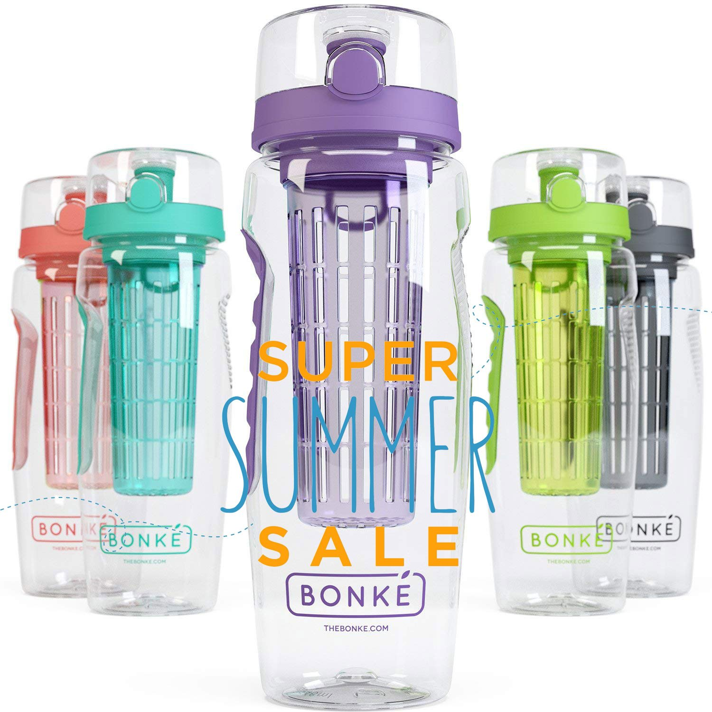 Bonké Bottiglia d'acqua con Infusore di Frutta - Ebook Gratuito di Acqua Infusa e Spazzola di Pulizia - 3 su 1 - Grande di 1 Litro - Plastica Priva di BPA & Impugnatura in Gomma Ecocompatibile con Sistema di Bloccaggio (Purple) Bonke