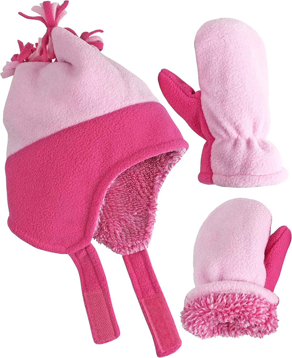 NIce Caps Little Girls and Baby Warm Sherpa Lined Fleece Snow Hat Mitten Set