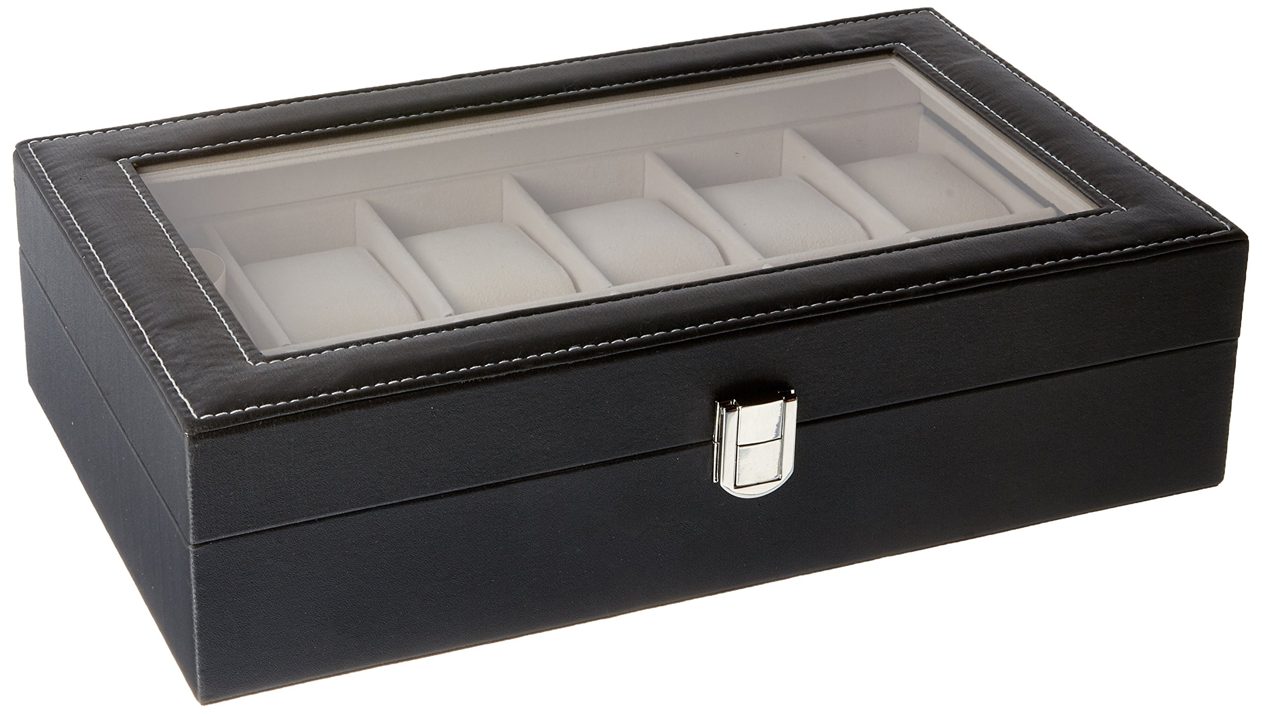 12 Grids Slots Leather Jewelry Watch Display Case Box Storage Holder Organizer