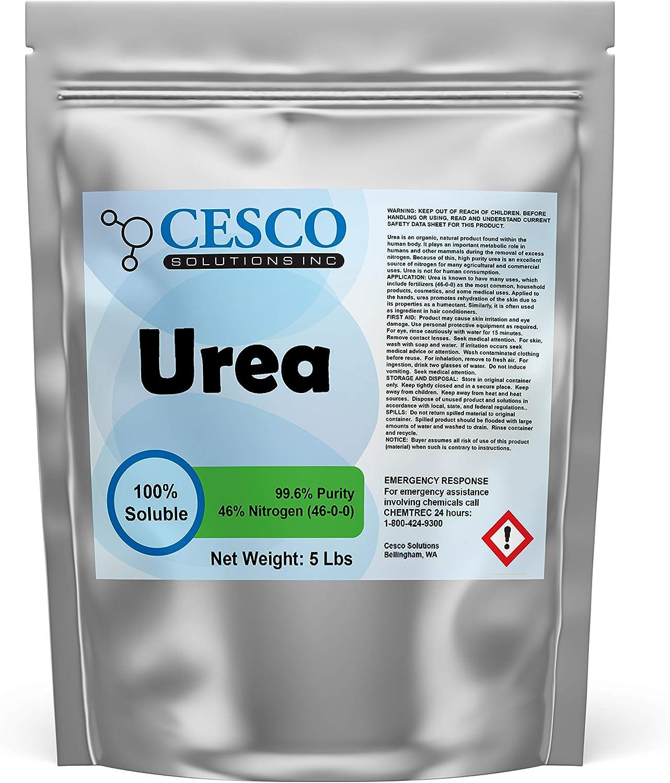 Cesco Solutions Urea Plant Food - High Efficiency 46% Nitrogen 46-0-0 Fertilizer for Indoor, Outdoor Plants - 99.6% Pure Water Soluble Garden Lawn, Vegetable Fertilizer and Tie Dye - 5 lbs