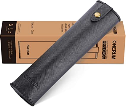 ONERUM - Estuche de piel auténtica para bolígrafos, bolígrafos, bolígrafos, regla, cosméticos, bolsa de viaje para pintalabios, delineador de ojos, lápiz de cejas, brocha de maquillaje, color negro: Amazon.es: Oficina y papelería