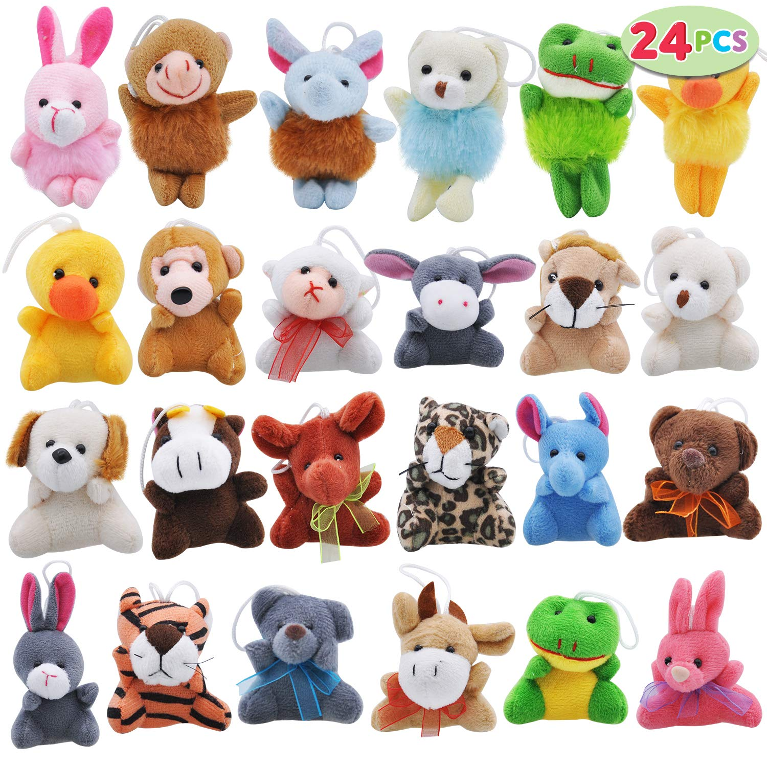 "Joyin Toy 24 Pack Mini Animal Plush Toy Assortment (24 units 3"" each) Kids Valentine Gift Easter Egg Filter Party Favors"