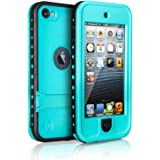 Waterproof Case for iPod 5 iPod 6, Merit Waterproof Shockproof Dirtproof Snowproof Case Cover with Kickstand for Apple iPod Touch 5th/6th Generation for Swimming Diving Surfing Snorkeling (Blue)