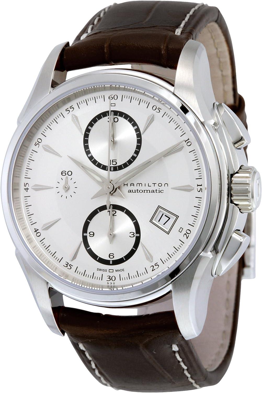 Hamilton H32616553 Jazzmaster Reloj con Esfera Plateada y Correa marrón para Hombre