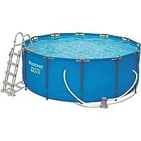 Bestway Steel Pro MAX Frame Pool Set, rund Stahlrahmenpool-Set mit Filterpumpe + Zubehör, blau