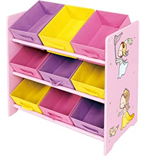 Liberty House Toys Princess Toy Storage Shelf With Nine Fabric Bins Wood Multi