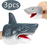 GROBRO7 3Pack Shark Hand Puppet Finger Puppet Toys Set Realistic Soft Rubber Shark Puppet Sea Animal Shark Head Role Play Toy
