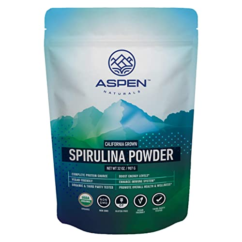 Aspen Naturals Organic Spirulina Powder - 32 OZ - California Grown, USDA Organic, Non GMO, Nutrient Dense Superfood, 100 Pure, Vegan Plant Based Protein Supplement