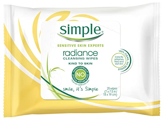 Simple Cleansing Facial Wipes, Radiance 25 ct