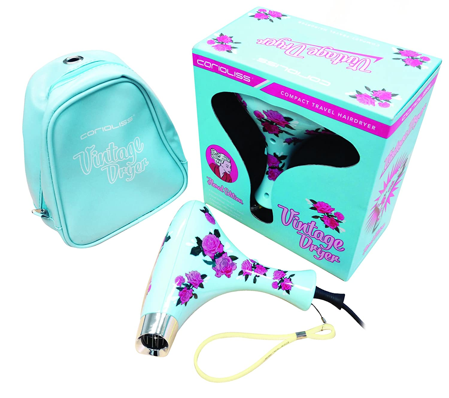 corioliss Mini Vintage Dryer Compact Travel Hairdryer Blue Floral Design by corioliss: Amazon.es: Salud y cuidado personal