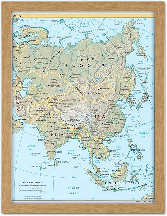 CIA 2004 Map Asia Continent China Russia India Framed Wall Art Poster