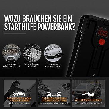LCD Bildschirm 3.GenerationmitQDSP LED-Taschenlampe TrekPow G39 Starthilfe Powerbank,1200A Spitze mit intelligentem Kabel f/ür Benzin bis zu 6,5L und Dieselmotoren 5,5L