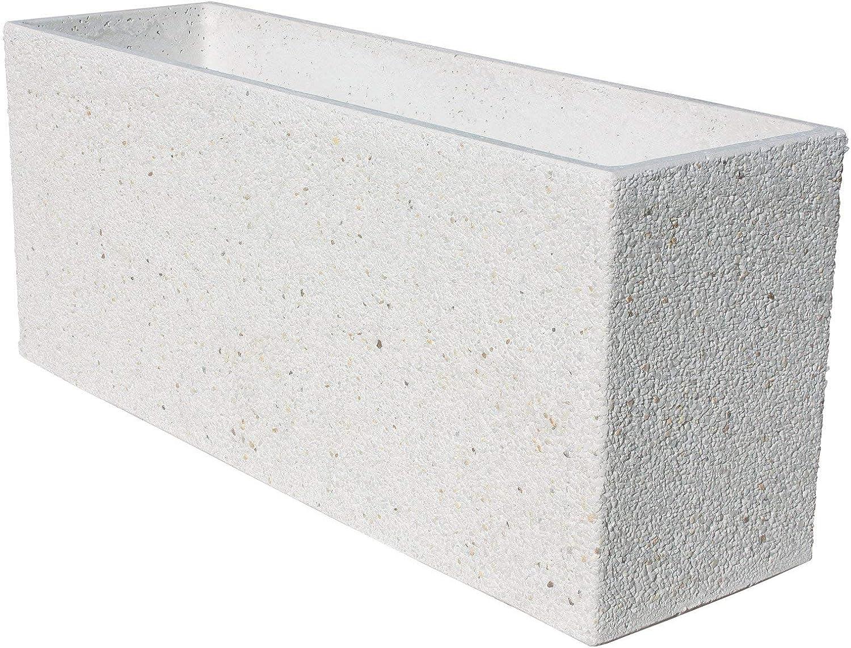 AnaParra Jardinera Rectangular Moderna en hormigón aligerado para Exterior Piedra Santolina 90X27X38cm. Blanco