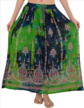 Skirts & Scarves Faldas y Bufandas rayón Tie Dye Largo Maxi Falda ...
