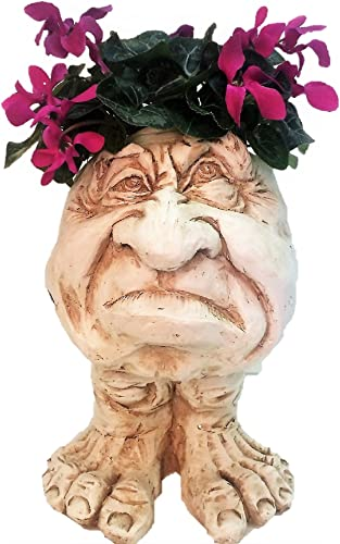 Homestyles 18 in. Antique White Grumpy The Muggly Face Statue Planter Holds 7 in. Pot
