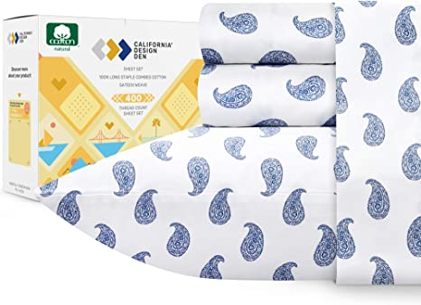 400 Thread Count 100 Cotton Sheets For Bed 4 Piece Paisley Blue King Size Printed Sheet Set Long Staple Combed Cotton Bed Sheets Sateen Weave Fits Mattress 16 Deep Pocket Home Kitchen