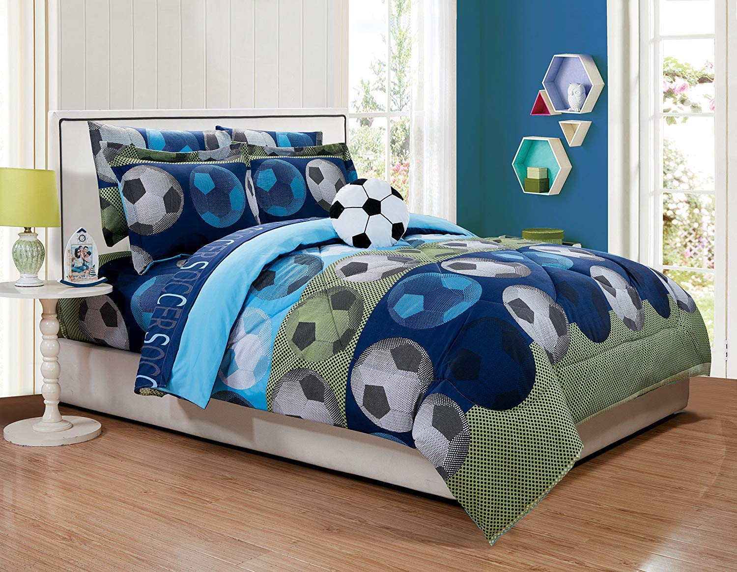 Fancy Linen Collection 8pc Queen Size Soccer Blue Green White Black Comforter Set with Furry Buddy Included