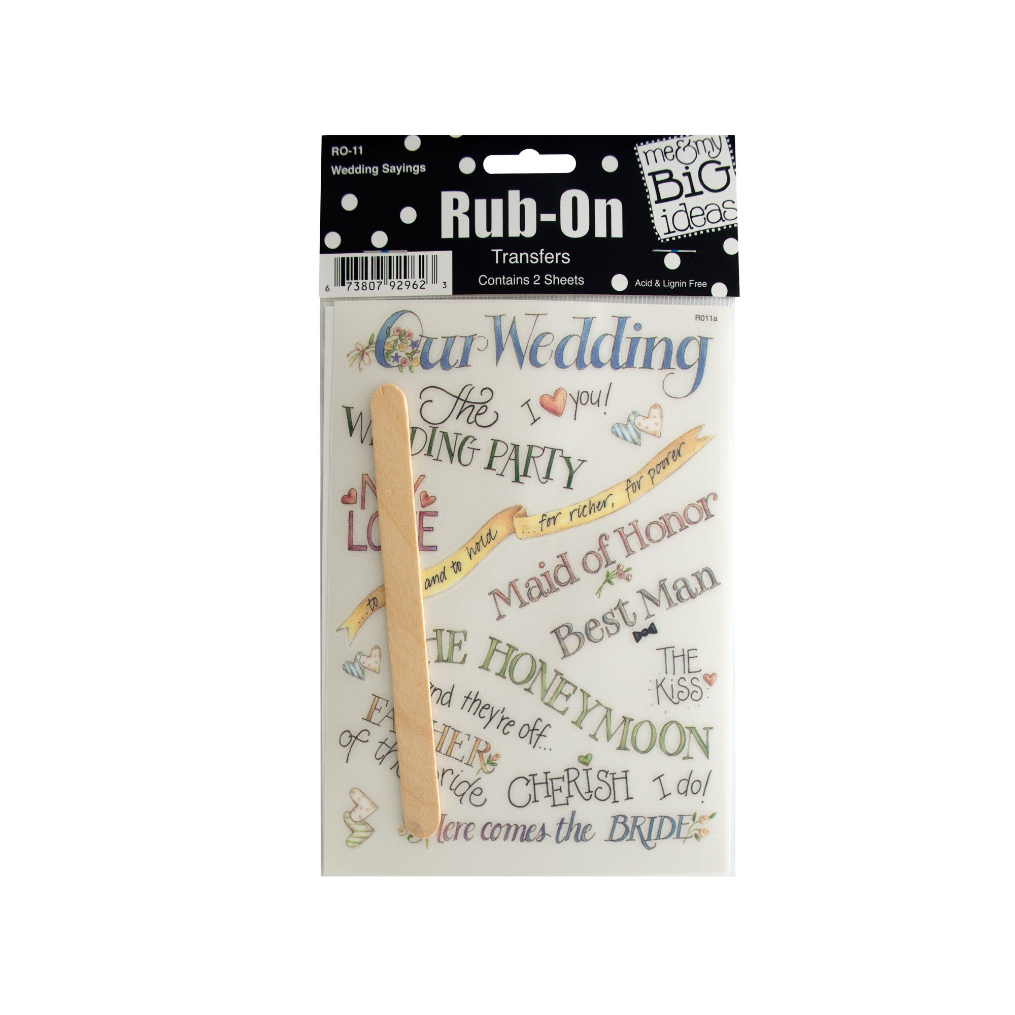 123-Wholesale - Set of 48 Wedding Sayings Rub-On Transfers - Scrapbooking Rub-ons