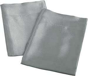 Aiking Home 2 Pieces of Colorful Shiny Satin Queen Size Pillow Cases, Charcoal
