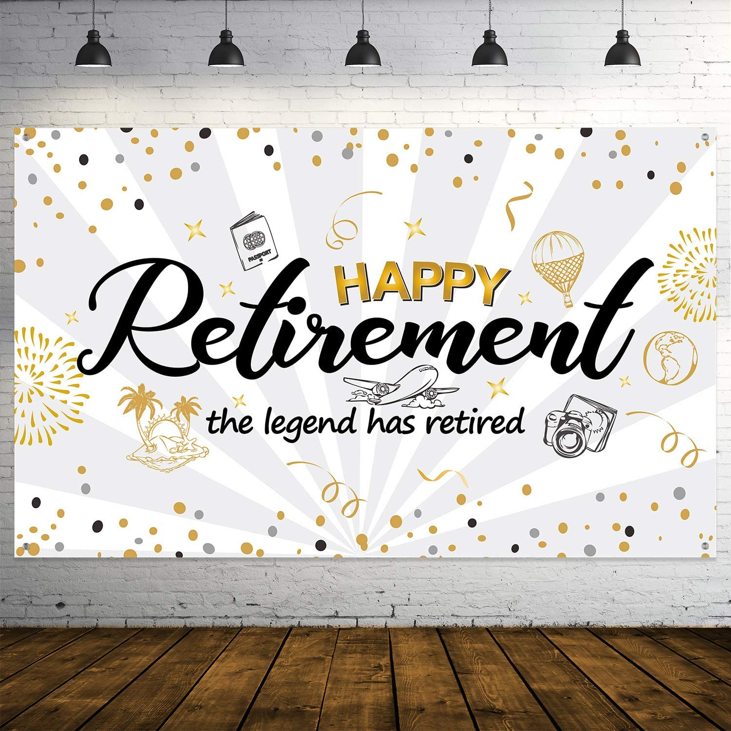 Happy Retirement Banner Home Office Party Decoration Washable Photo Props