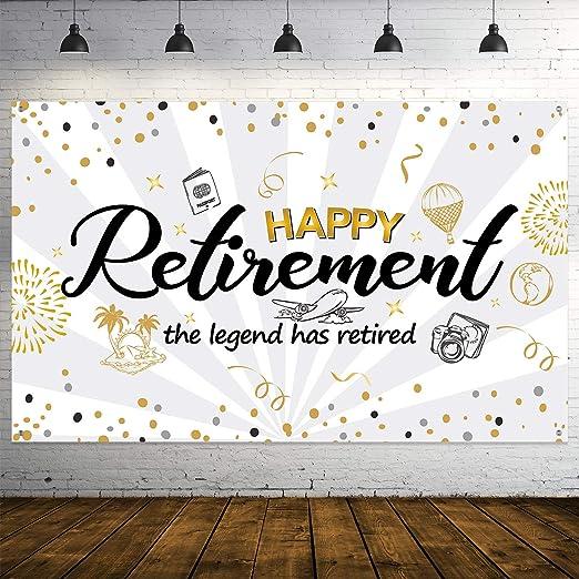 Decoración de Fiesta de Jubilación, Cartel de Señal Dorado y Negro de Tela Extra Grande, Pancarta de Happy Retiremente Pancarta de Fondo de Fotos ...