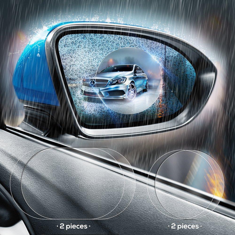GradCap - Protector de pantalla para espejo retrovisor de coche, antiempañ amiento, 4 piezas, protector de cristal transparente impermeable, universal, todos los modelos está ndar antiempañamiento todos los modelos estándar GTMYYXGS