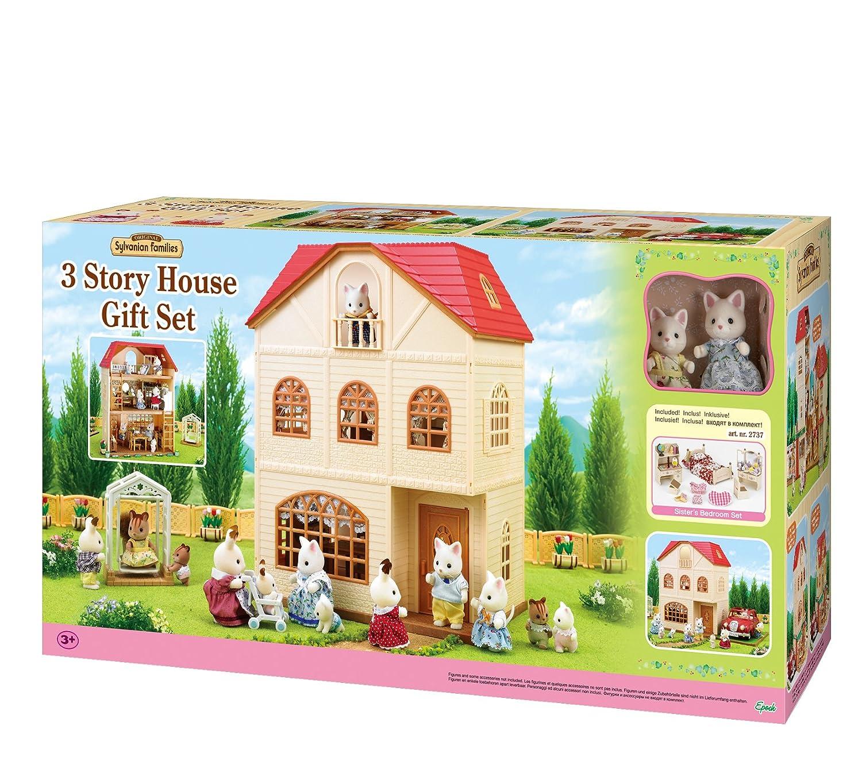 Sylvanian families cedar terrace gift set with 2 figures bedroom amazon co uk toys games