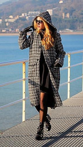 Abrigo de lana - Estampado geométrico - Alta calidad - Mujer