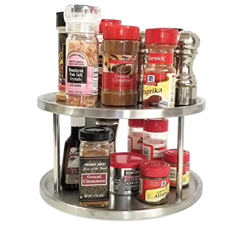 Charming Lazy Susan 10 Inch Two Tier Turntable Spice Rack Cabinet Organizer Also For  Appetizer Tray,