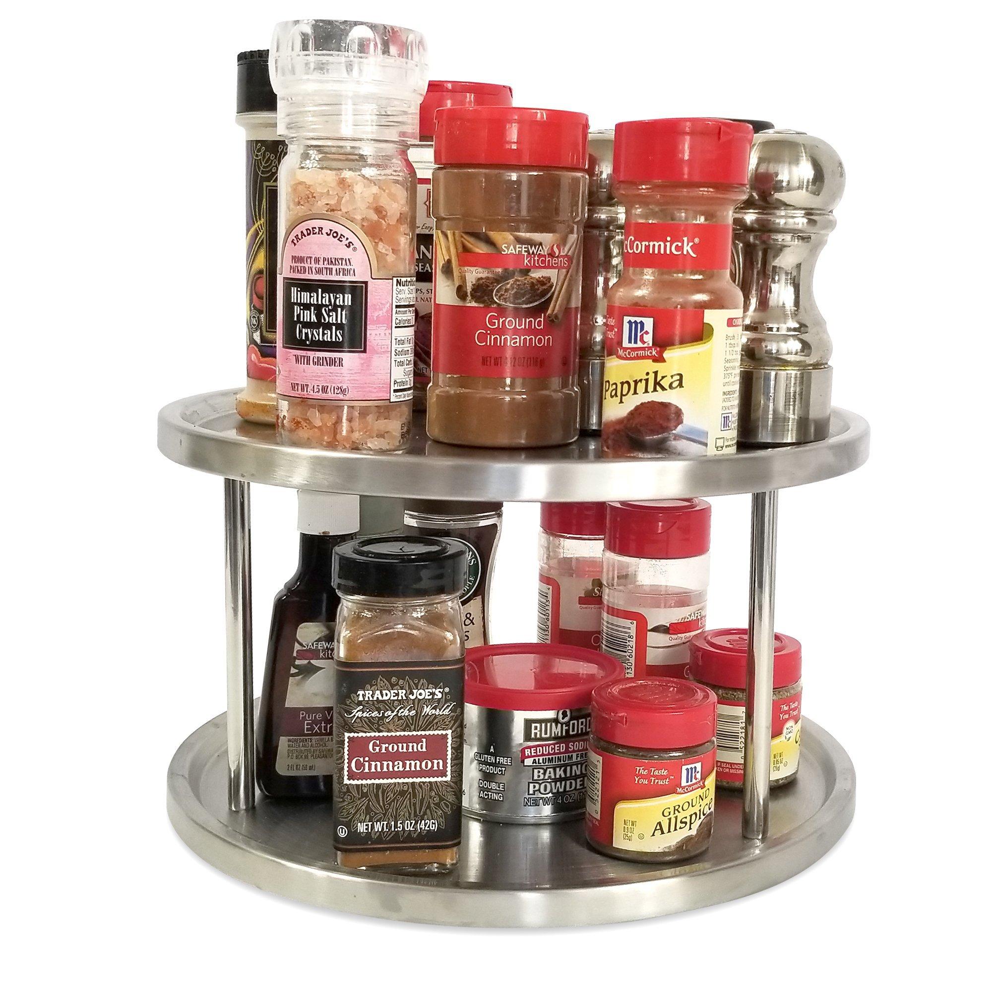 Lazy Susan Turntable 10 in Acacia Wood 2-Tier Kitchen Organizer Spice Storage