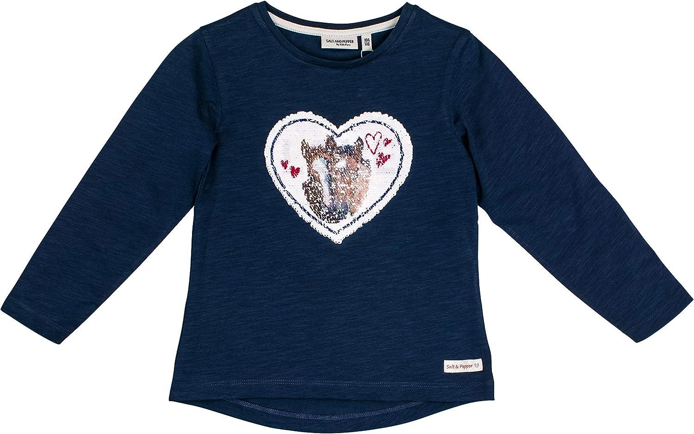 Salt /& Pepper Girls Horses Herz Love Wendepailletten Longsleeve T-Shirt
