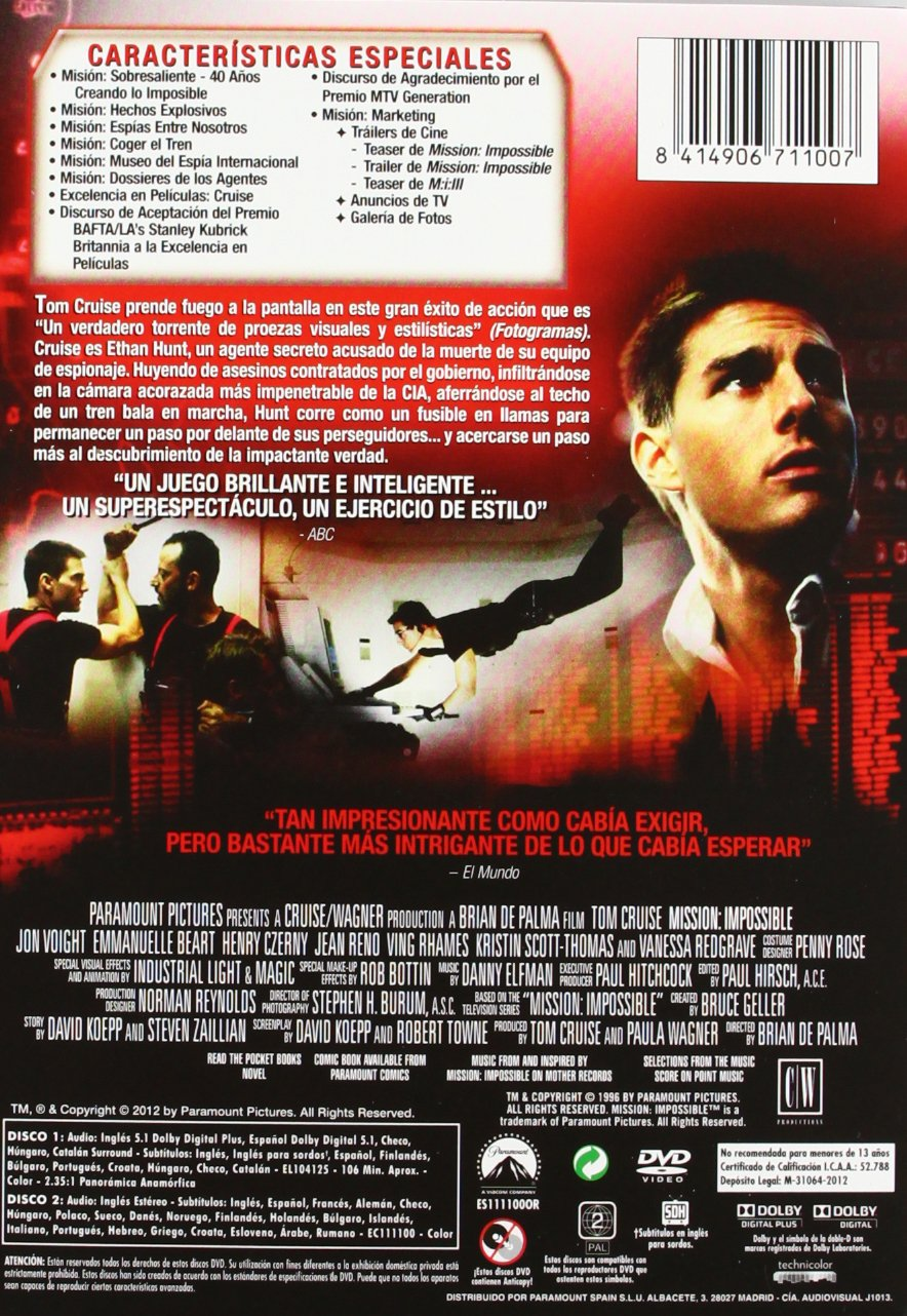 Amazon.com: Misión Imposible (Import Movie) (European Format - Zone 2) (2012) Tom Cruise; Emmanuelle Béart; Jon Voight;: Movies & TV