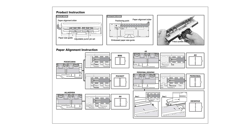 Bira Adjustable 6 Hole Punch, Mini/Pocket/A5/A6/Agenda/Personal/Deskfax, 8 Sheets Capacity, Performance Guaranteed