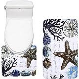 Amagical Colorful Sea Shells Design Bath Mat Set 2 piece Toilet Rug Bathroom Contour Mat