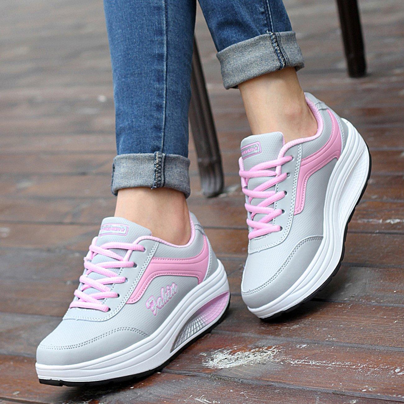 9abcee5af22fe NEWCOLOR Mujeres Primavera Otoño Moda Transpirable con Cordones Zapatos De Balancín  Zapatos Deportivos Ocasionales  Amazon.es  Zapatos y complementos