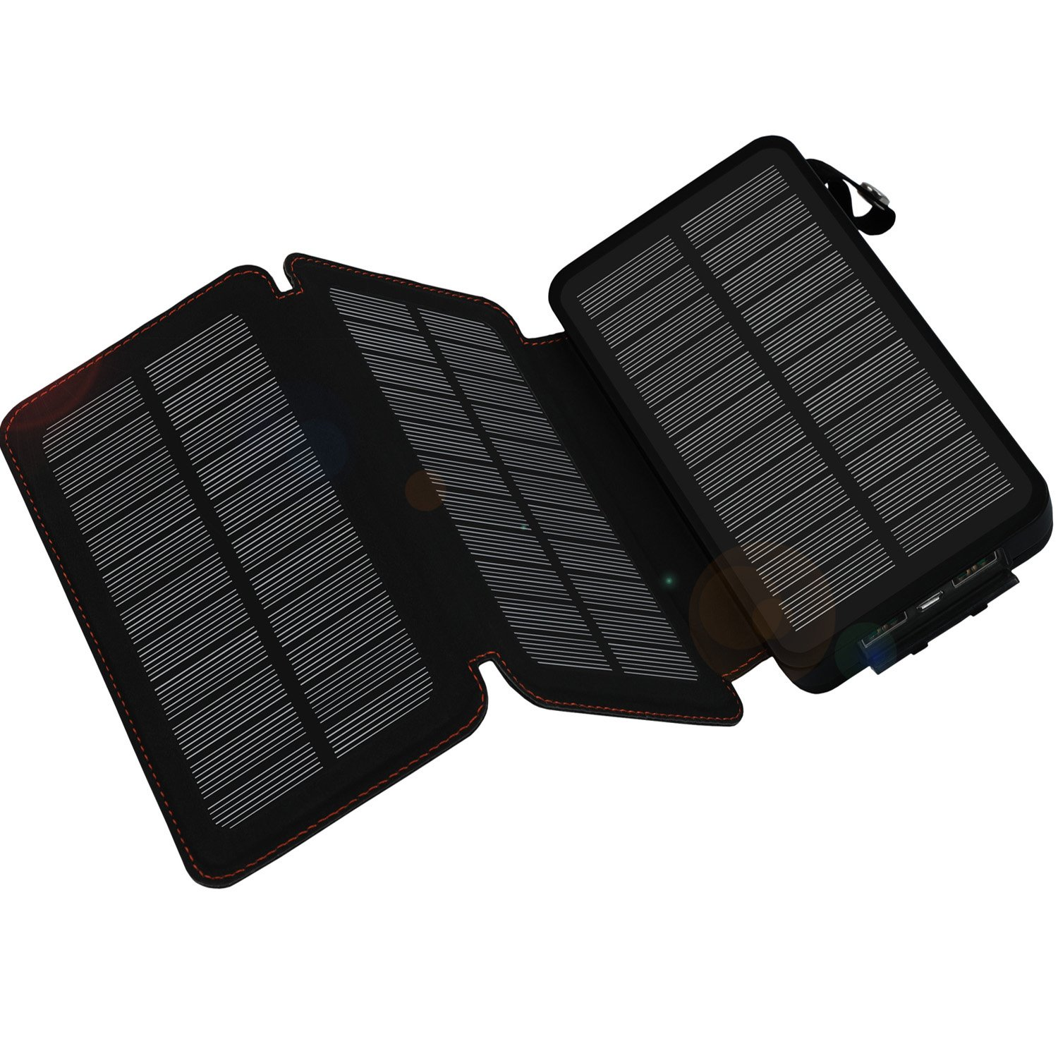 Solar Charger 24000mAh,WBPINE Solar Power Bank Waterproof Dual USB Output with 3 Solar Panels External Battery Bank Flashlights for iPhone 8/X,Samsung S9/Note 8 and More (Black)