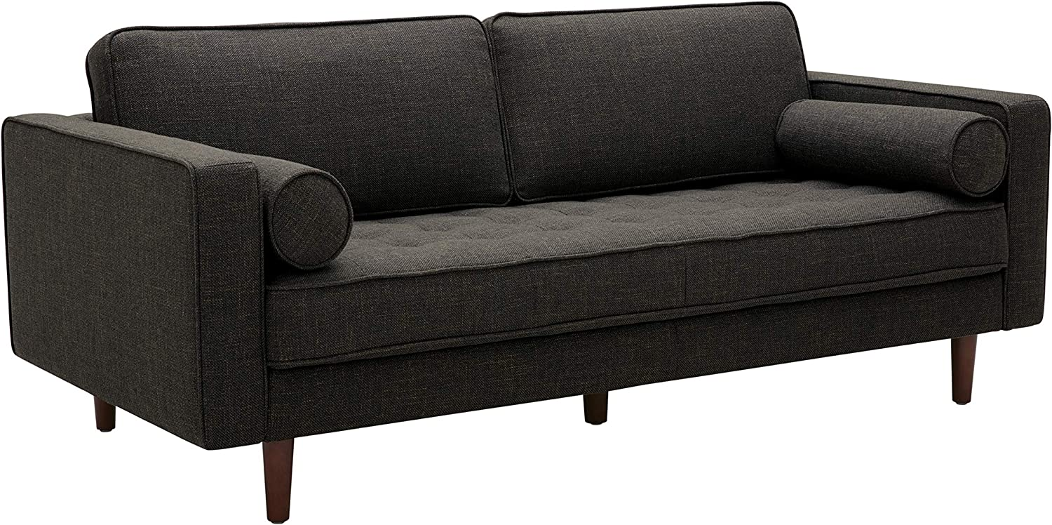 "Amazon Brand – Rivet Aiden Mid-Century Sofa with Tapered Wood Legs, 74""W, Dark Grey"
