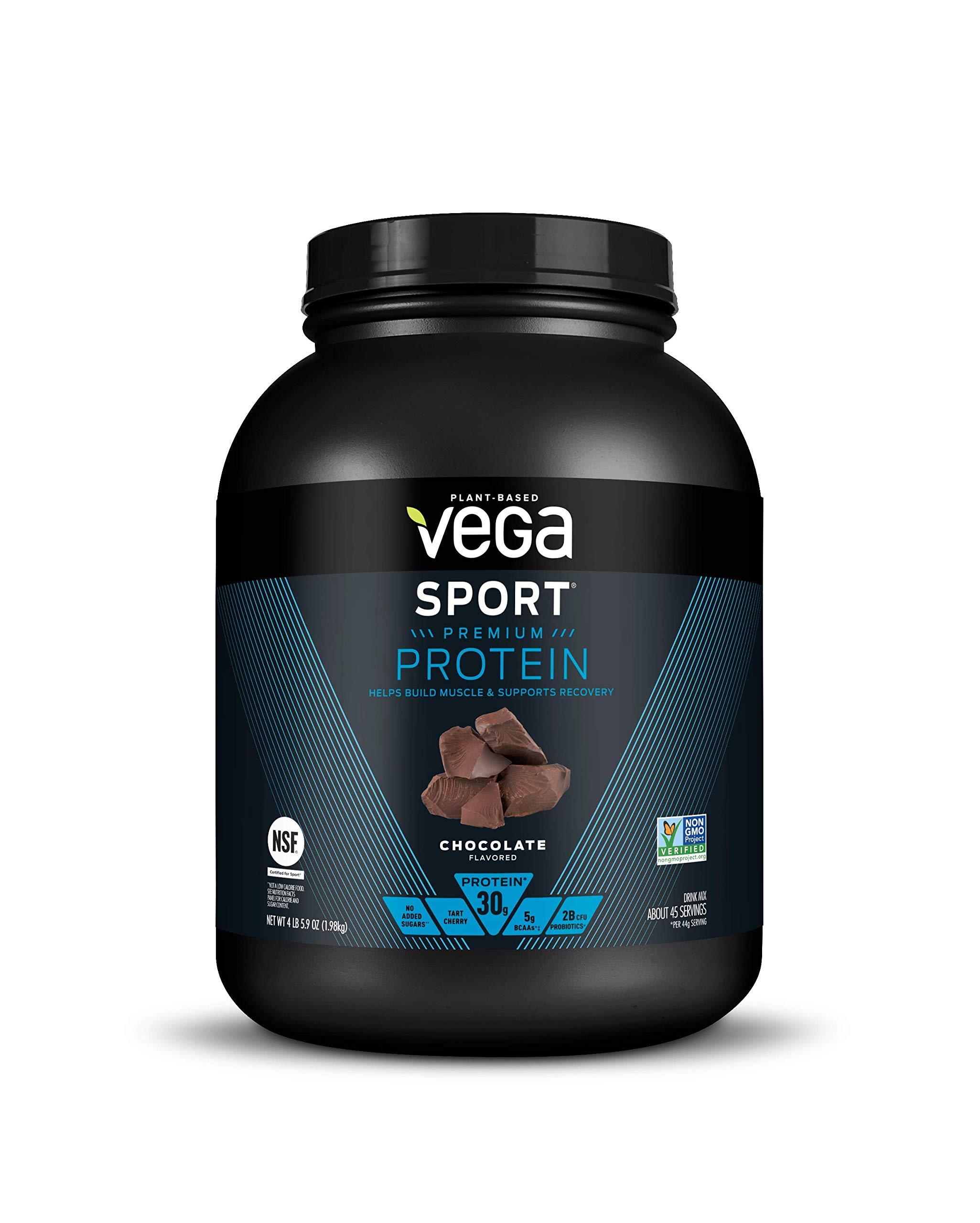 Vega Sport Protein Powder Chocolate (45 Servings, 69.9 Ounce) - Plant Based Vegan Protein Powder, BCAAs, Amino Acid, Tart Cherry, Non Dairy, Keto-Friendly, Gluten Free,  Non GMO (Packaging May Vary) by VEGA