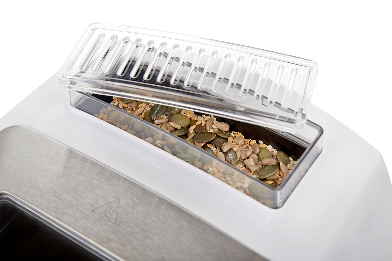 Andrew James - Premium Panificadora automática de doble hoja en blanco - con 13 programas préréglés, función de suspensión & Dispensador de ingrédients ...