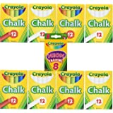 Crayola Non-Toxic White Chalk(12 ct box) Pack of 4 and Colored Chalk(12 ct box) Pack of 4  Bundle with Box of Neon Crayons