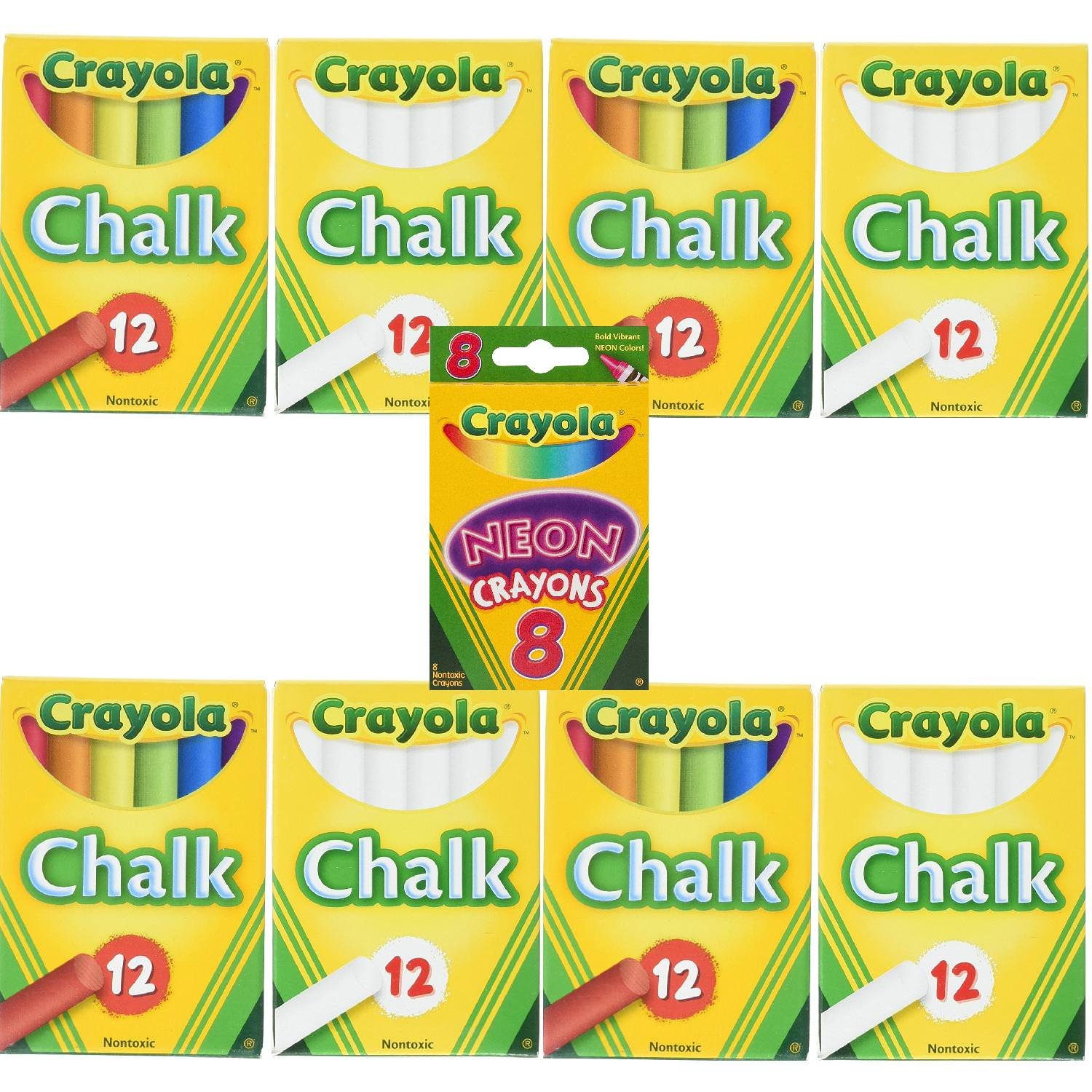 4 Pack Crayola Non-Toxic White Chalk and 4 Pack Colored Chalk Bundle with Box of Neon Crayons