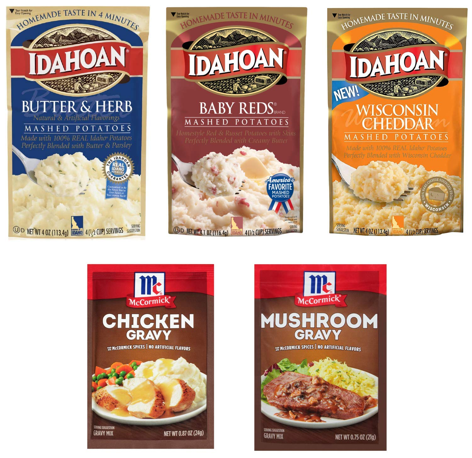 Idahoan Instant Mashed Potatoes Variety (4 oz x 3 pack) and McCormick Gravy Mix Packets (0.87 oz x 2 pack) - 5 pc Bundle (Butter Herb, BabyRed, Wisconsin & Chicken Mushroom)