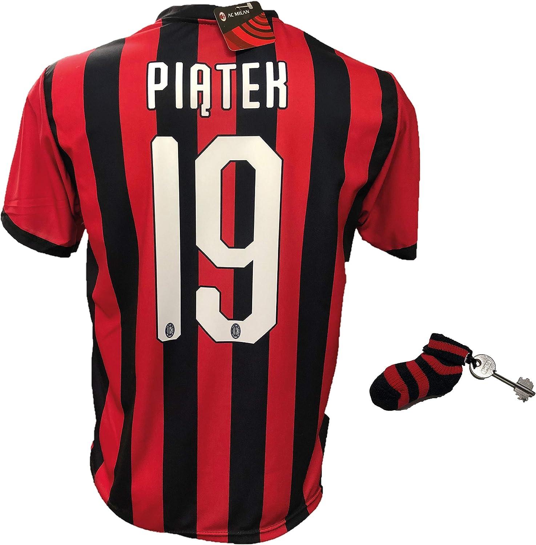 DND DANDOLFO CIRO Camiseta Fútbol Milan Piatek 19 Réplica autorizada 2018-2019 con regalo calcetín llavero rosetón tallas para niño y adulto: Amazon.es: Ropa y accesorios