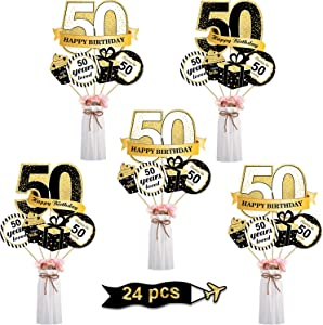 Blulu Birthday Party Decoration Set Golden Birthday Party Centerpiece Sticks Glitter Table Toppers Party Supplies, 24 Pack (50th Birthday Decor)