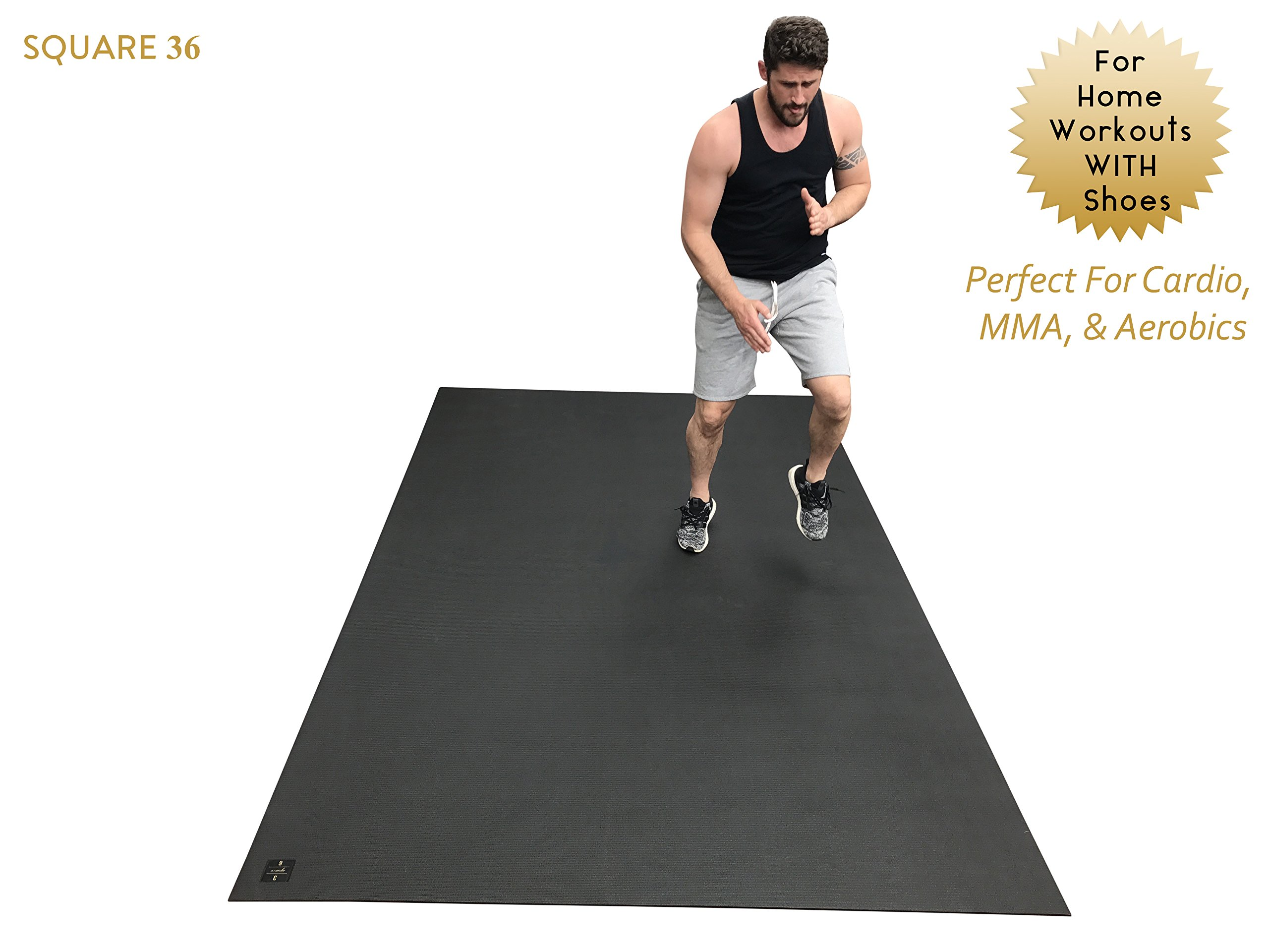 Large Exercise Mat 10 Ft X 6 Ft (120'' x 72'' x 1/4''). Designed For Cardio Workouts WITH Shoes. Perfect For MMA, Cardio And Plyometric Workouts. Ideal For Home Gyms Or Living Room Workouts. Square36 by Square36 (Image #2)