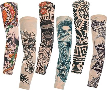 Konsait 6pcs Manche Bras Manchette Tatouage Faux Tatouage Tattoo Collant Manches Bras Glissement Pour Homme Femme Unisexe Halloween Amazon Fr Jeux Et Jouets