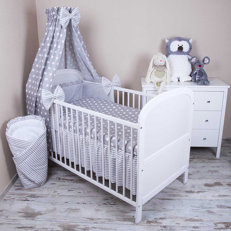 Amilian® Baby Bettwäsche 5tlg Bettset mit Nestchen Kinderbettwäsche Himmel 100x135cm NEU Pünktchen grau Vollstoffhimmel zieba