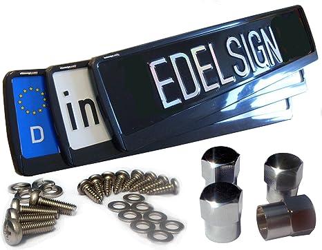 Edelsign Futur Vector - Juego de 2 soportes para matrícula, material de fijación de acero inoxidable y ...